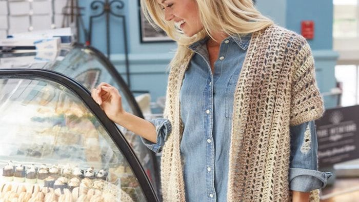Crochet Two Rectangle Cardigan Pattern The Crochet Crowd In 2020 Crochet Cardigan Crochet Poncho Crochet Kimono