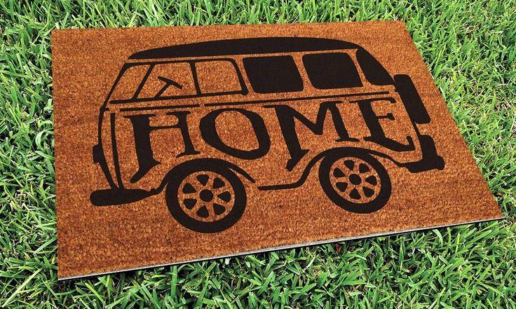 Home Mini Bus Custom Hand Painted Welcome Door Mat by Killer Doormats by KillerDoormats on Etsy