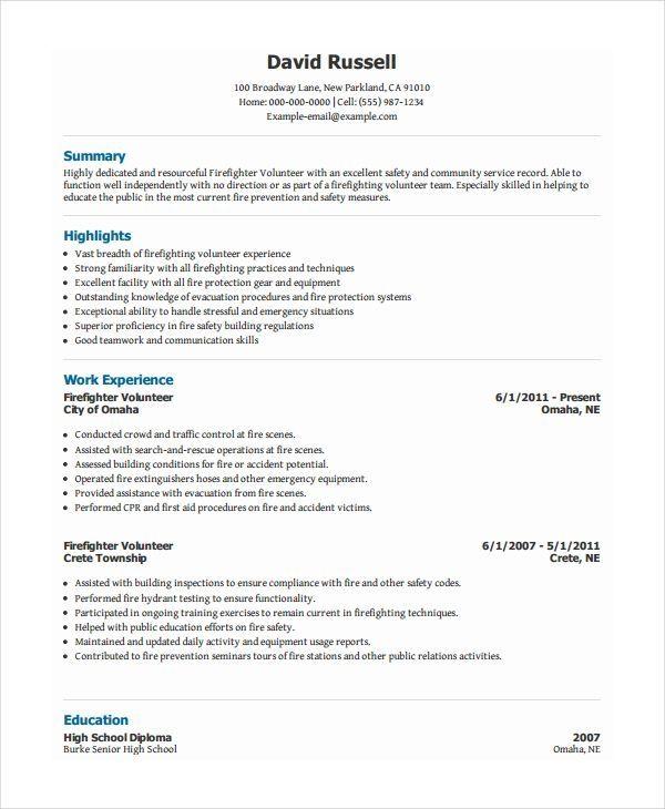 Volunteer Firefighter Resume Firefighter Resume Resume Firefighter Resume Resume Examples Job Resume Examples
