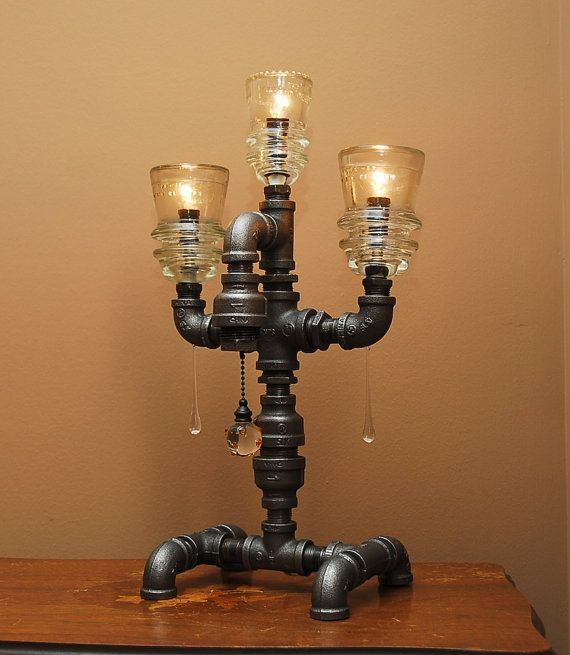 Industrial Style Pipe Lamp with 3 Glass Insulators by TRoweDesigns, $170.00