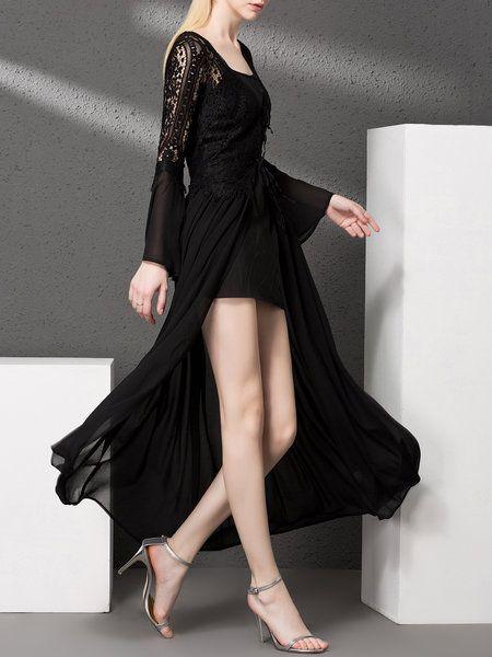 Black Floral Plunging Neck Pierced Long Sleeve Coat