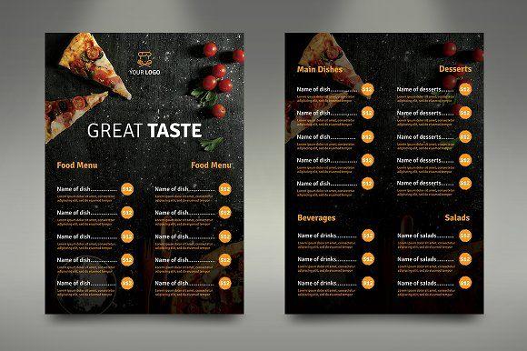 A4 Fast Food Menu Fast Food Menu Food Menu Food Menu Design