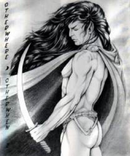 """I BARKED when I saw this; slash fiction at its finest, no doubt. And yes, after analyzing the hairstyle and taking into account the wind sheer and direction, I can confidently say that that IS Spock in a MULLET. // """"Otherwhere Otherwhen 2"""" published by Ponn Far Press in 1992."""