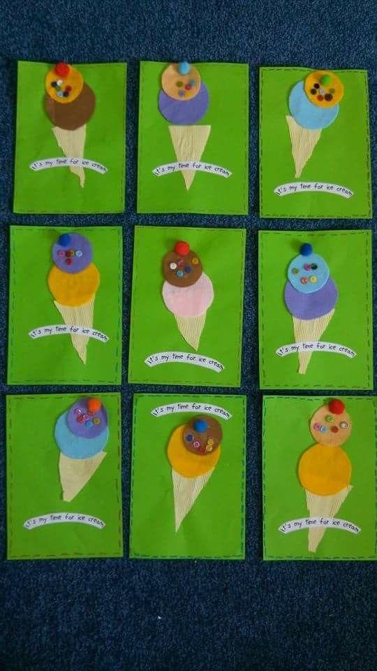 I scream, you scream, we scream for ICE CREAM!! Using colorful felt fabric, buttons, and pom pom.