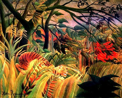 Take ideas from this Henri Rousseau for children's multi media art. Start with a painted background and build up in layers with paper trees/plants and a cut out tiger (from magazine), adding the forground last (possibly dried grasses/leaves etc).