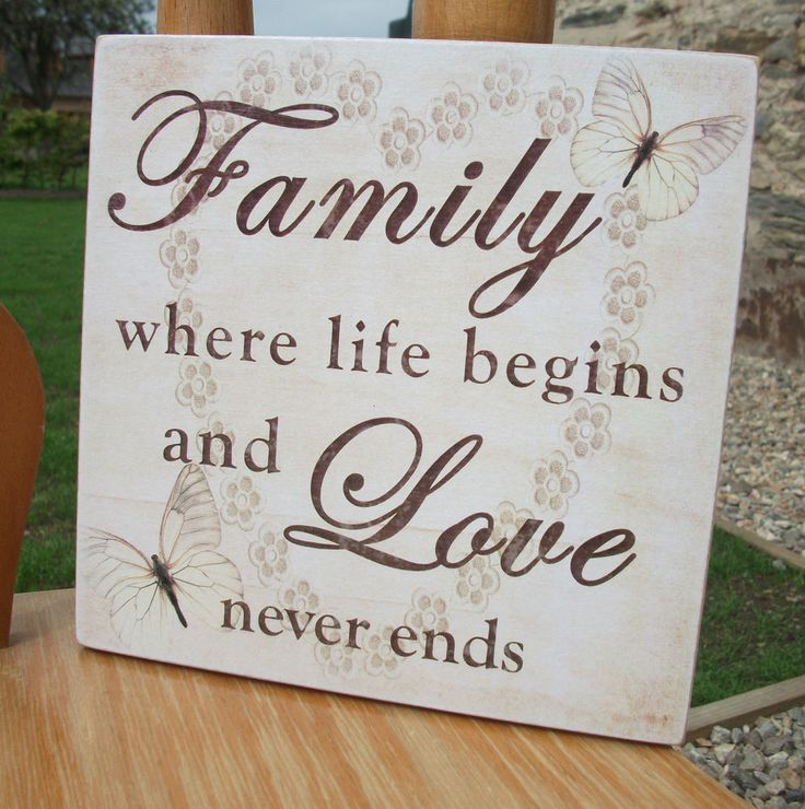 Family where life begins and love never ends - handmade wooden plaque - beige