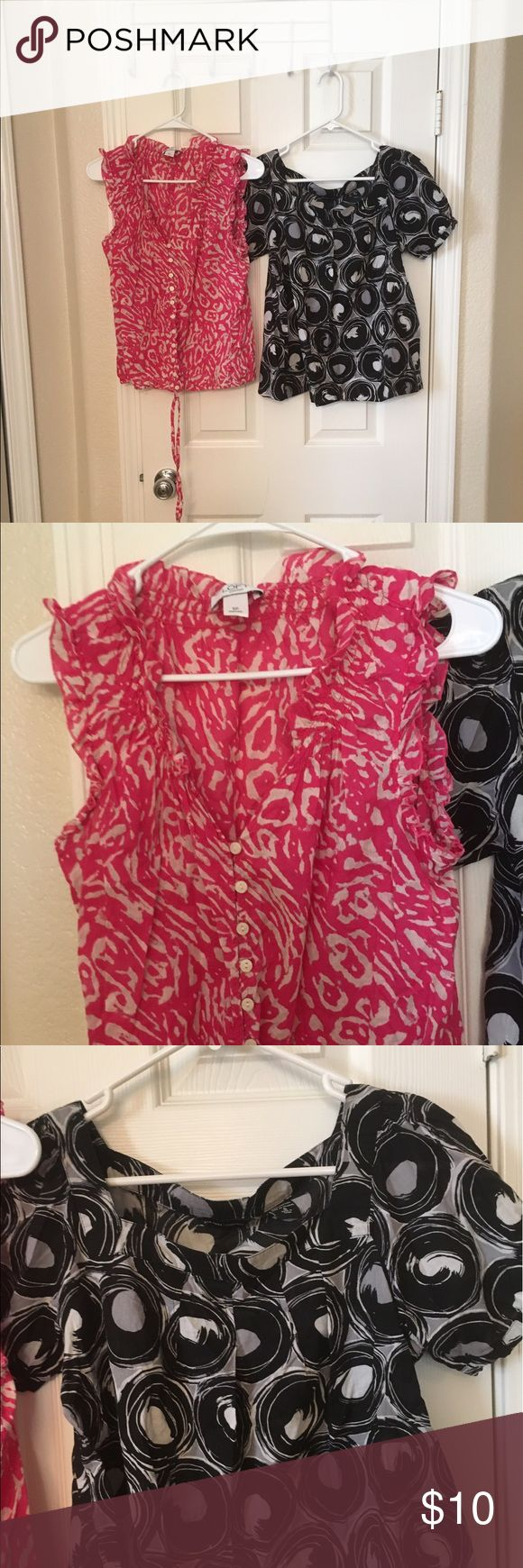 "Lot of 2 Ann Taylor-PS and New York Company top-S Great condition, the pink is Ann Taylor Loft size PS, armpit to armpit is 16"", shoulder to bottom is 21"".. the black is New York and Company size Small, armpit to armpit is 18"", shoulder to bottom is 22"".. perfect for summer! Easy to dress up and down with Ann Taylor Tops Blouses"