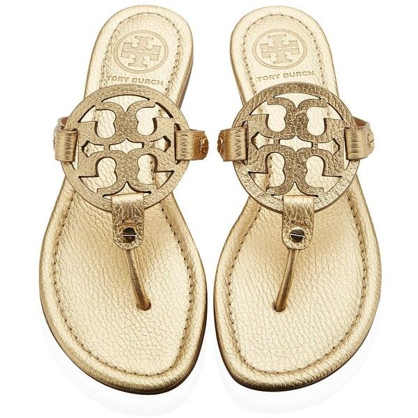 Tory Burch Miller Cut Out Flip-Flops ($265) ❤ liked on Polyvore featuring shoes, sandals, flip flops, flats, tory burch, leather sandals, tory burch shoes, cutout flats, flats sandals and flip flop sandals