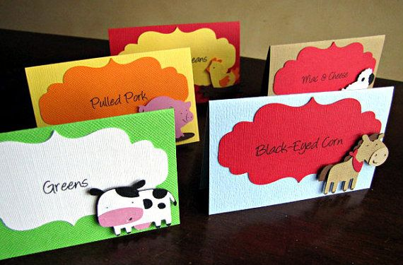 Barnyard Party Food Tent Cards Set of 10 by ScrapYourStory