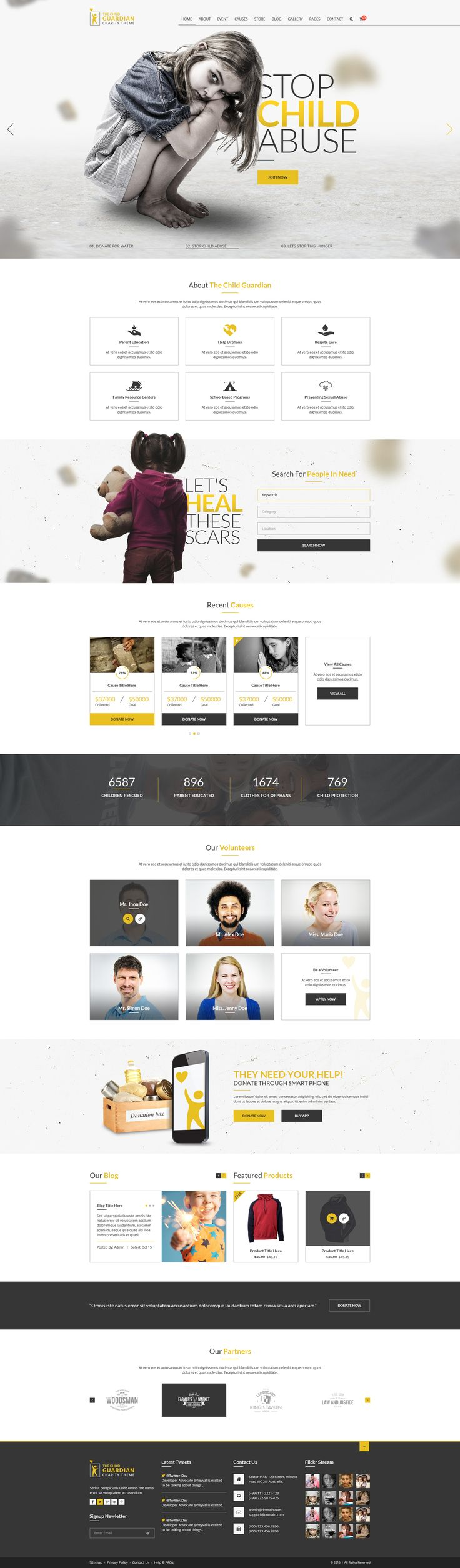 The Child Guardian is a modern, unique and clean design for charities and not for profit organizations #PSD #Template. It is a contemporary design and has all the elements that any charity would like in their website including the events and cause page.