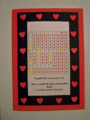 Make this crossword puzzle Valentines Day card to show your sweetheart how much you love him.