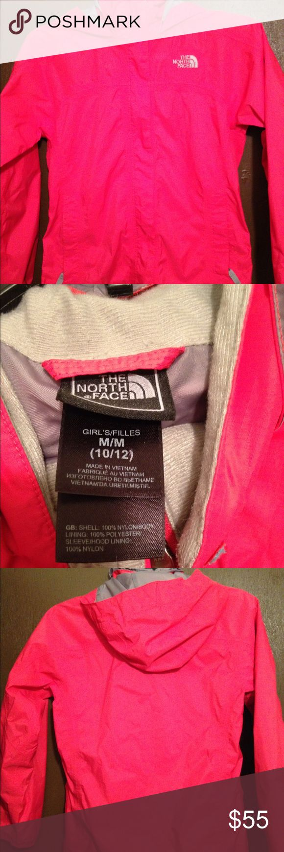 Authentic fuchsia pink North Face girl windbreaker Fuchsia pink girl windbreaker size 10/12. Wore a few times but in excellent condition. The North Face Jackets & Coats