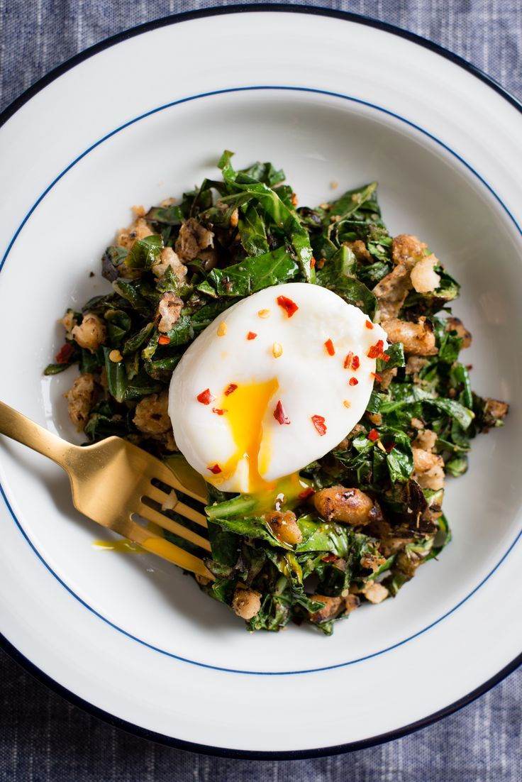 Recipe: Crispy White Beans with Greens and Poached Egg — Recipes from The Kitchn #recipes #food #kitchen