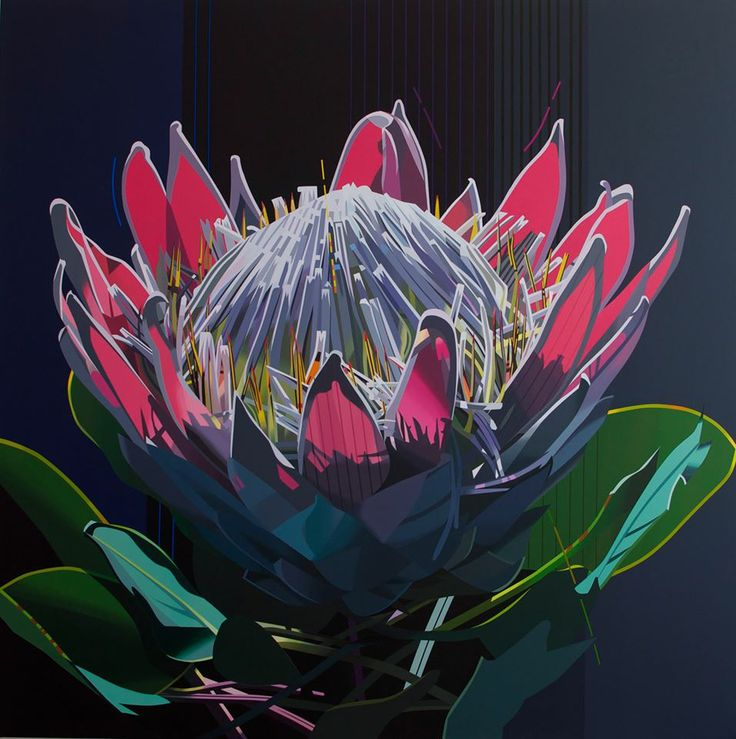 artist: PAUL BLOMKAMP 'King Protea..the true electric essence' 120 x 120cm acrylic on canvas