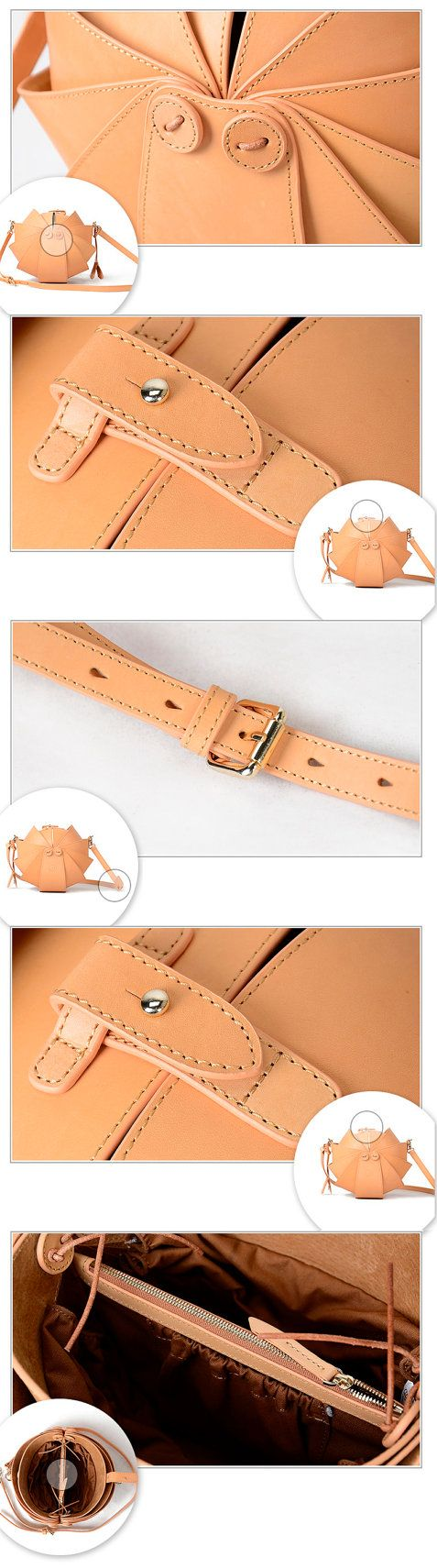 Nude Leather Cross Body Bag-Large Round Shoulder bag by KiliDesign