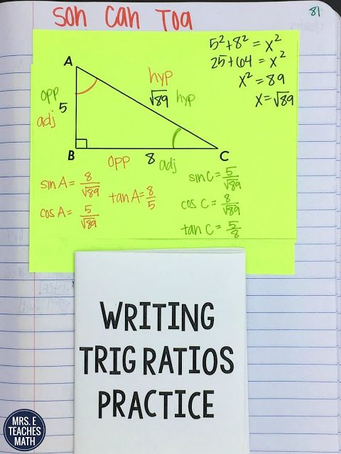 Trig Ratios Interactive Notebook Page for Geometry