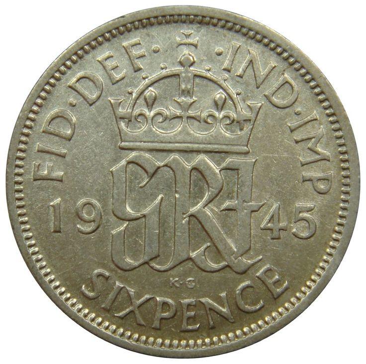 (B27) - Grossbritannien United Kingdom - 6 Pence 1945 Monogramm - XF - KM# 852 #coin #coins #numismatic #numismatics #numismatik #münzen #currency #money #ebay