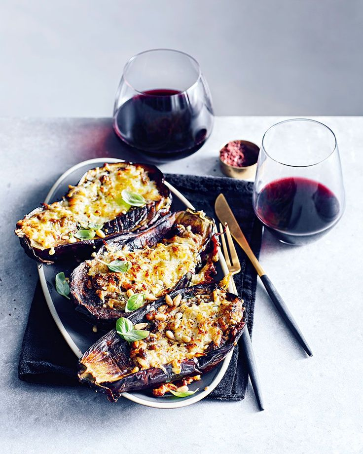 There's something moreish about roasted aubergine – add halloumi and pesto and you've got yourself an irresistible midweek dinner that the whole fam