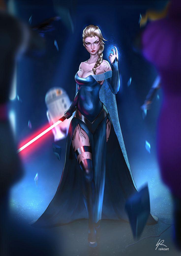 "LET IT GO by raikoart.deviantart.com on @DeviantArt - Elsa as a Sith; crossover between ""Frozen"" and ""Star Wars"""
