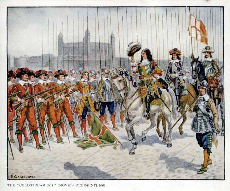 The Coldstreamers, Monks regiment. New Model Army, 1661. An example of what an army looked like in mid 1600's