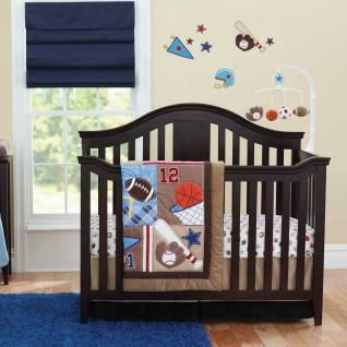 Sports Football Basketball And Baseball Boys Nursery 6 Piece Crib Bedding Set