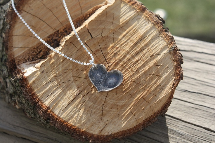 Double Fingerprint Heart Necklace | Silver Touches