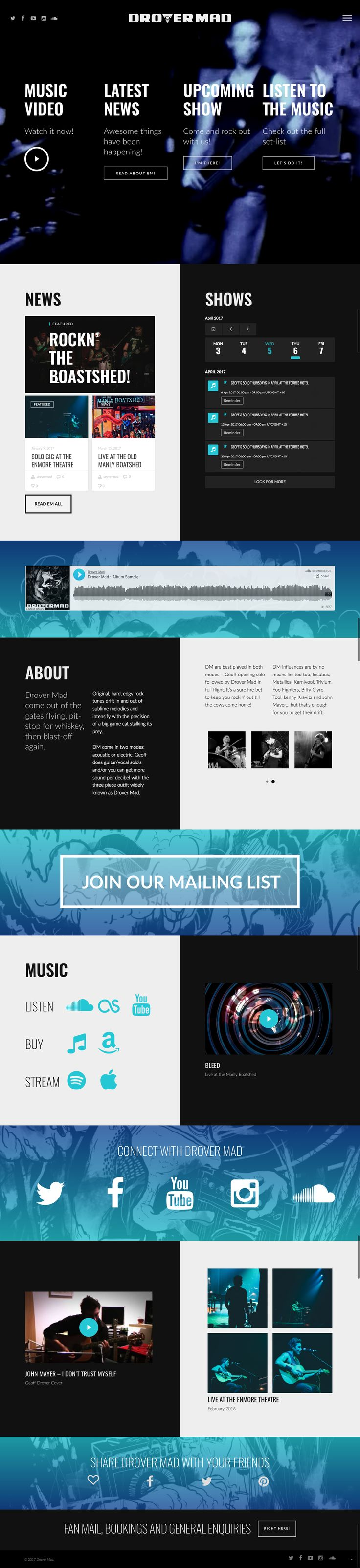 One page responsive musician website with blog, gig calendar, listen and buy music links, embedded audio and video #website #mybandwebsite #responsive #wordpress http://kore.digital