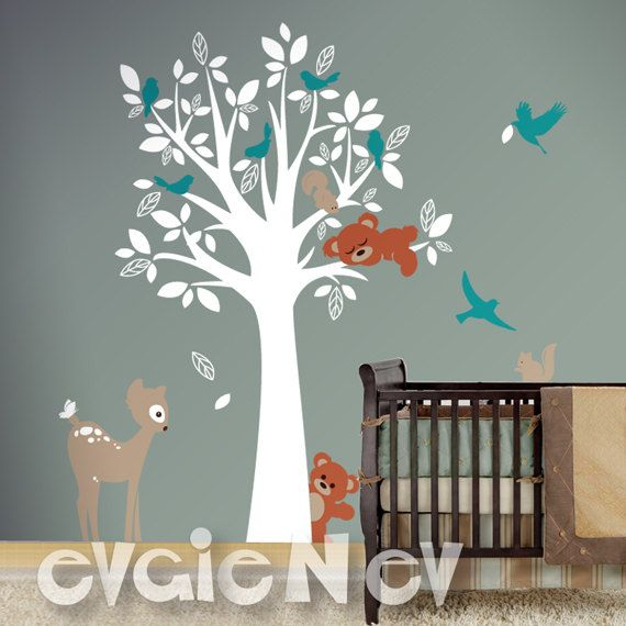 New Forest Animals Nursery Decal Includes simple tree w/ Forrest animals & lots of birds. Perfect to decorate & add your personal touch to any space, switch themes in child's room. Easy to apply. Includes a FREE test decal. #WallDecal