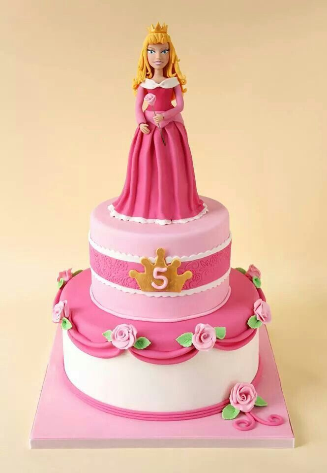 "Sleeping Beauty cake- tuffed white, with pink top with roses like bottom here- and crown placard with ""4"" or ""Teaghan"" on the sides? Or top?"