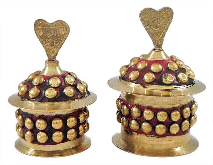 Pair of Brass Kumkum Container (Brass)