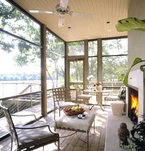 Screened Porch Fireplace Is A Nice Touch For Extending