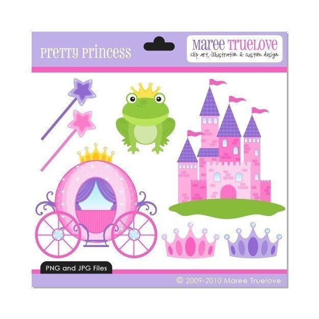 Pretty Princess Clipart - Digital Clip Art Graphics for Personal or Commercial Use. $3.00, via Etsy.
