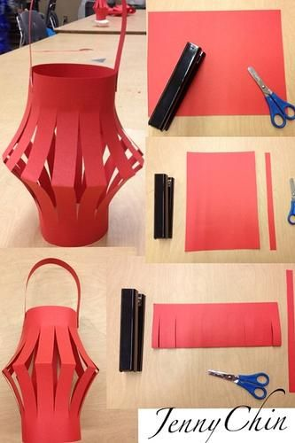 Chinese New Year paper lantern - used red packets. Only stapler and scissors needed