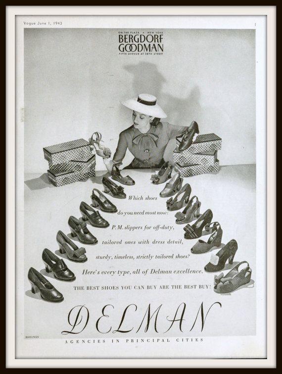 1943 Delman Shoes ad Advertisement. Vintage Bergdorf Goodman ad. Vintage shoe ad. Vintage Fashion ad. Vintage Delman Shoes ad