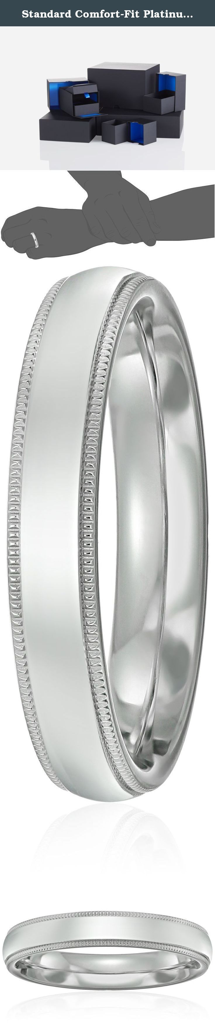 Standard Comfort-Fit Platinum Milgrain Band, 4mm, Size 8. Choose a solid, classic look with this 4mm comfort fit men's wedding band, crafted in strong and radiant 950 platinum. This handsome band has a bright polished finish with delicate milgrain detailing along the edges. The comfort fit design features a rounded polished interior that allows the ring to slide on easily and rest comfortably on the finger. Platinum is a beautiful and popular precious metal, valued for its extreme rarity…
