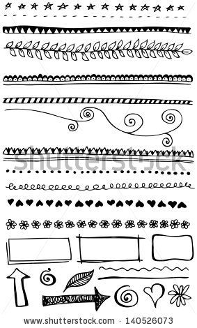 Hand-drawn line border set - stock vector