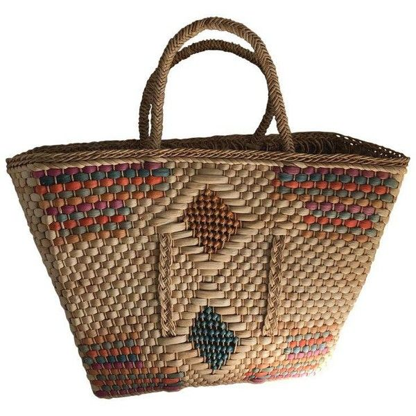 Natural Woven Market Basket ($65) ❤ liked on Polyvore featuring home, home decor, small item storage, baskets, colorful woven baskets, colored woven baskets, weave basket, braided baskets and colored baskets