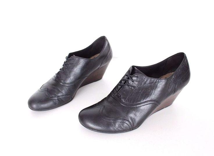 Black 100% Real Leather VAGABOND Lace Up Wedge Ladies Shoes Pumps Size UK 7 EU40