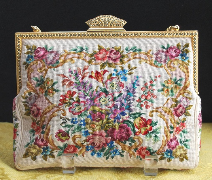 Vintage Austrian Floral Petit Point Purse Jeweled Frame and Chain