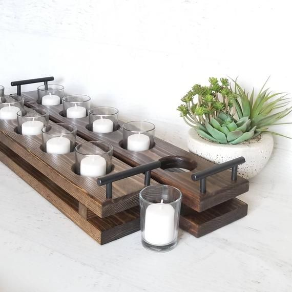 Long Wood Candle Tray Table Candle Holder Candle Platter Etsy Wood Candle Tray Table Candle Holders Long Candle Holder