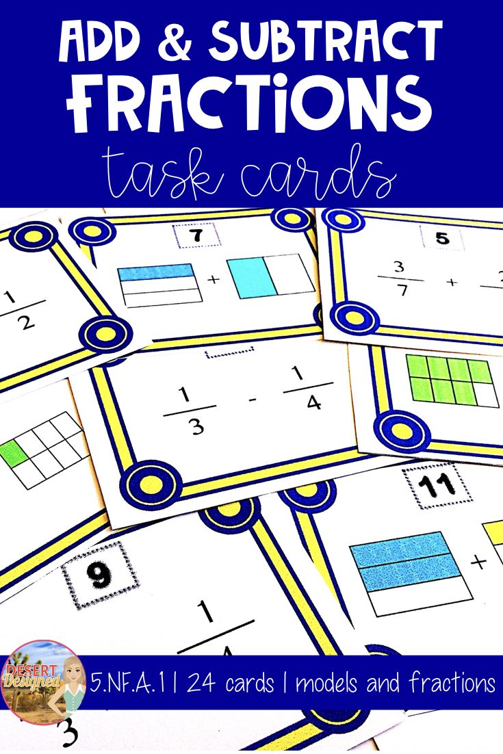 Students add and subtract fractions and fraction models with unlike denominators using these task cards