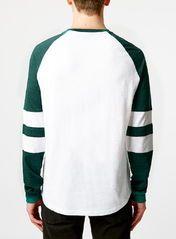 Green And White Slubby Longsleeve Raglan T-Shirt