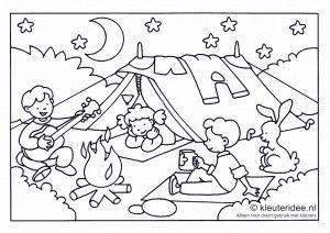Kleurplaat camping voor kleuters ,thema kamperen, kleuteridee.nl , preschool camping coloring, free printable.