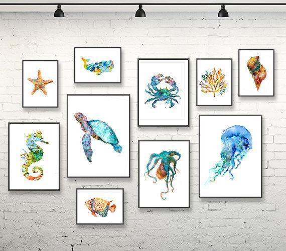 Ocean Art Nautical Nursery Art Print Set Watercolor Painting Etsy Nautical Nursery Art Art Wall Kids Nursery Art Prints