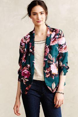 Cartonnier Rihan Blazer // love the teal + floral design #AnthroFave