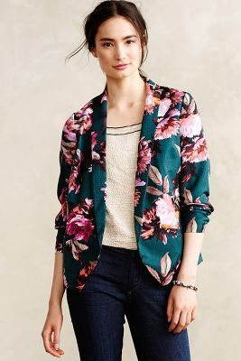 Cartonnier Rihan Blazer // love the teal + floral design #AnthroFave