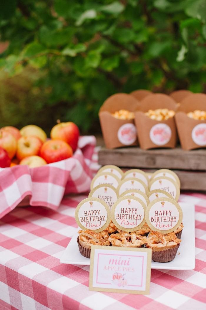 "Mini apple pies from a ""Little Pumpkin"" Fall Picnic Birthday Party on Kara's…"