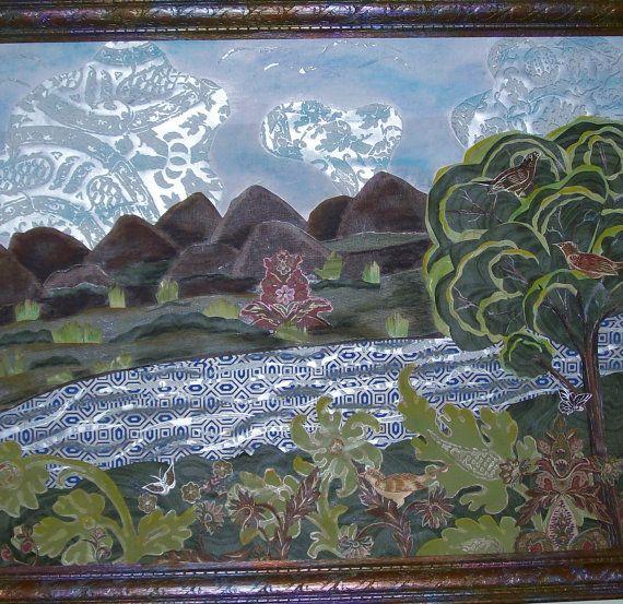 Mixed Media Landscape Original Landscape by NonisEclecticShop, $65.00