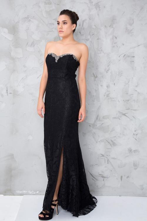 Siyah Dantelli Taş Detaylı Straplez Abiye Elbise - Fotoğraf