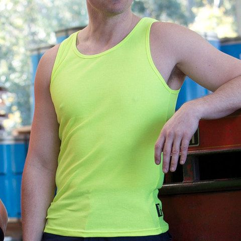 SUNSET mens fluoro tank top singlet for workwear or fashion styling. 65% polyester for durability, & 35% cotton for comfort. Buy mens safety workwear online.